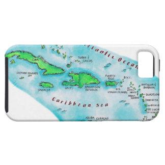 Mapa de las islas caribeñas iPhone 5 funda