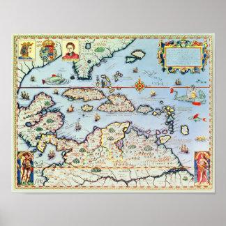 Mapa de las islas caribeñas impresiones