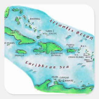 Mapa de las islas caribeñas pegatina cuadrada