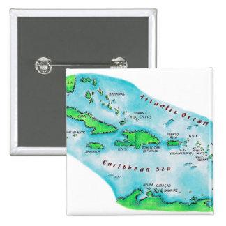 Mapa de las islas caribeñas pin cuadrado