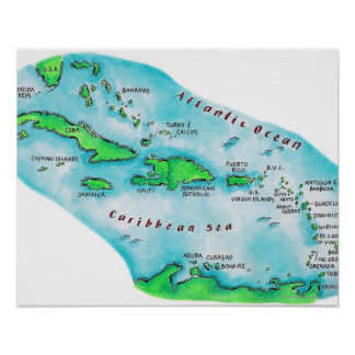 Mapa de las islas caribeñas póster