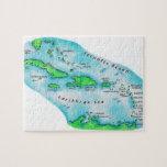 Mapa de las islas caribeñas rompecabezas con fotos