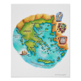 Mapa de las islas de Grecia Poster