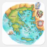 Mapa de las islas de Grecia Calcomanías Cuadradass Personalizadas