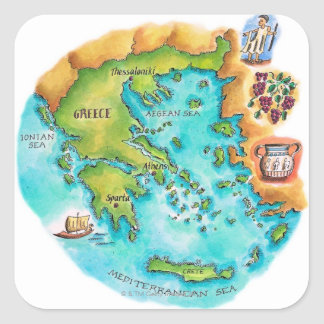 Mapa de las islas de Grecia Pegatina Cuadrada
