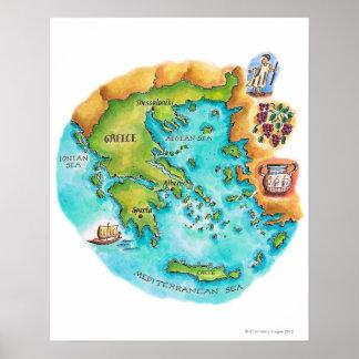 Mapa de las islas de Grecia Póster