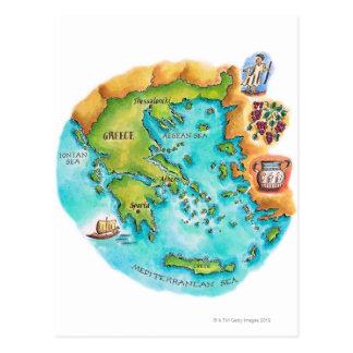 Mapa de las islas de Grecia Tarjeta Postal