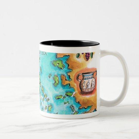Mapa de las islas de Grecia Taza De Café De Dos Colores
