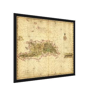 Mapa de las islas de La Española y de Puerto Rico Lona Estirada Galerías
