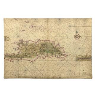 Mapa de las islas de La Española y de Puerto Rico Manteles Individuales