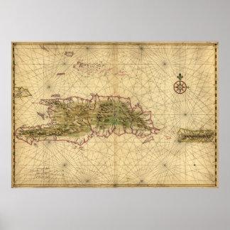 Mapa de las islas de La Española y de Puerto Rico Póster
