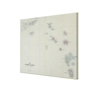 Mapa de las islas de sotavento lienzo envuelto para galerias