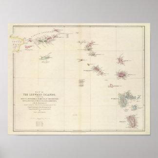 Mapa de las islas de sotavento poster