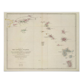 Mapa de las islas de sotavento póster