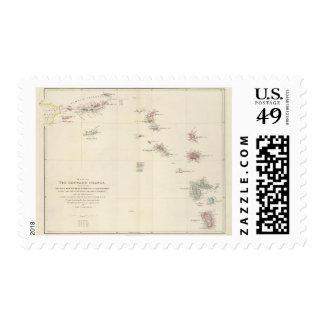 Mapa de las islas de sotavento timbre postal