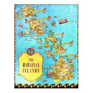Mapa de las islas hawaianas del vintage postales