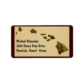 Mapa de las islas hawaianas etiqueta de dirección