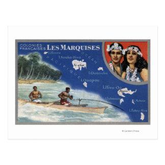 Mapa de las islas, naturales en una canoa tarjeta postal
