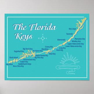 Mapa de las llaves de la Florida Póster