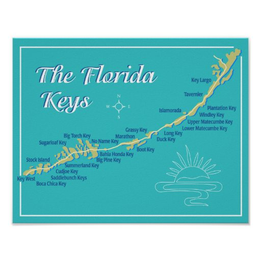 Mapa de las llaves de la Florida Poster