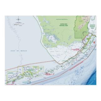 Mapa de las llaves de la Florida Postales