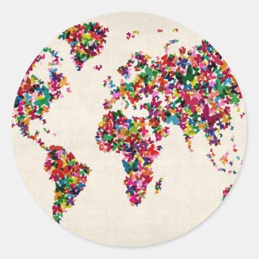 Mapa de las mariposas del mapa del mundo etiquetas redondas