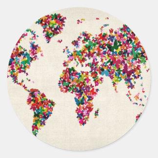 Mapa de las mariposas del mapa del mundo pegatina redonda