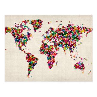 Mapa de las mariposas del mapa del mundo postales