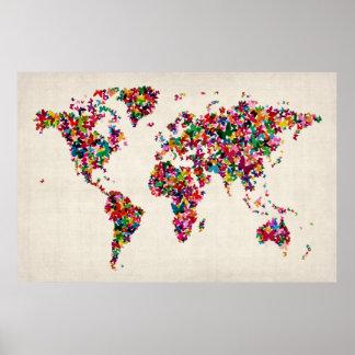 Mapa de las mariposas del mapa del mundo póster