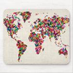 Mapa de las mariposas del mapa del mundo alfombrilla de ratones
