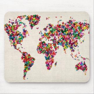 Mapa de las mariposas del mapa del mundo mouse pads