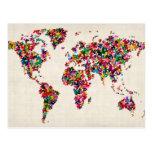 Mapa de las mariposas del mapa del mundo tarjetas postales