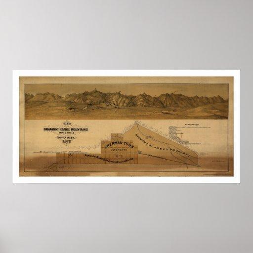 Mapa de las montañas 1875 de la gama de Panamint Impresiones