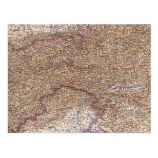Mapa de las montañas en Austria Postal