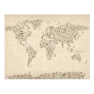 Mapa de las notas de la música del mundo postales