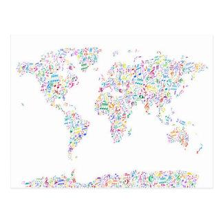 Mapa de las notas de la música del mundo tarjetas postales