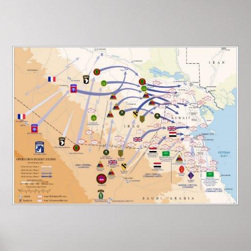 Mapa de las operaciones de tierra de la tormenta d poster