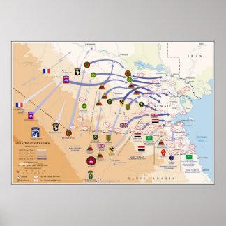 Mapa de las operaciones de tierra de la tormenta d póster