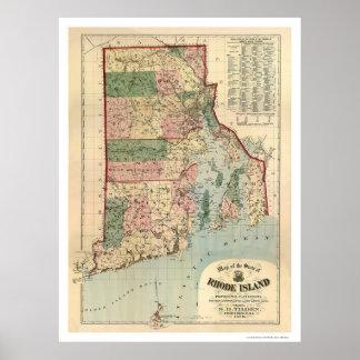 Mapa de las plantaciones 1880 de Rhode Island y de Póster