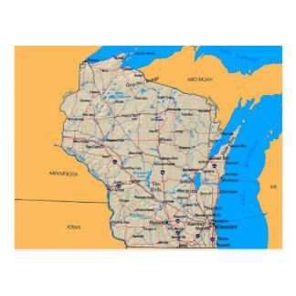 Mapa de las postales de Wisconsin