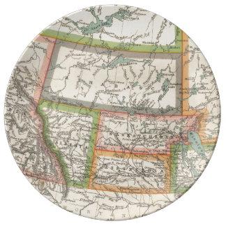 Mapa de las praderas canadienses (C. 1900) Platos De Cerámica