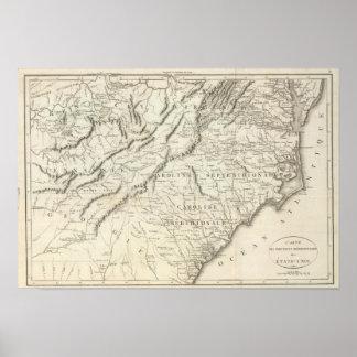 Mapa de las provincias meridionales de los Estados Póster
