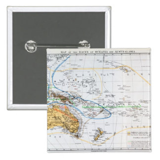 Mapa de las razas de Oceanía y de Australasia Pin Cuadrado
