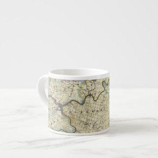 Mapa de las regiones del aceite del condado de taza espresso