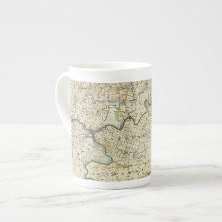 Mapa de las regiones del aceite del condado de taza de porcelana