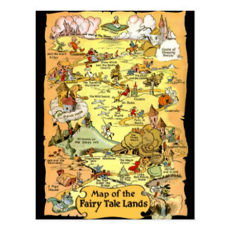 Mapa de las tierras del cuento de hadas tarjetas postales