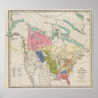 Mapa de las tribus indias de Norteamérica Póster