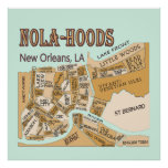 Mapa de las vecindades de New Orleans, NOLA_HOODS Póster