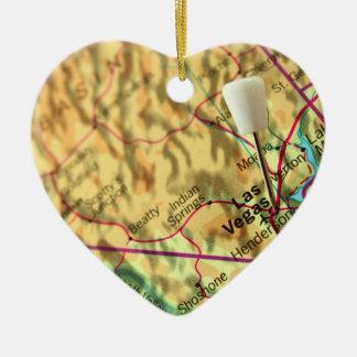 Mapa de Las Vegas Adorno De Cerámica En Forma De Corazón