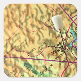 Mapa de Las Vegas Pegatina Cuadrada